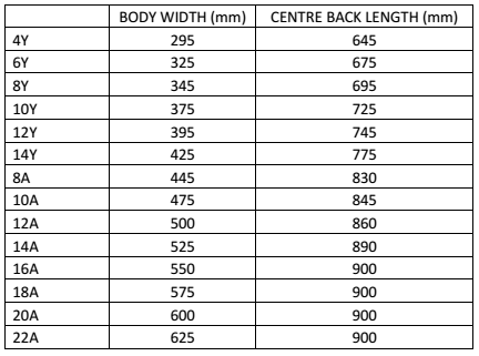 Netball Dress Size Chart - Colourup Uniforms